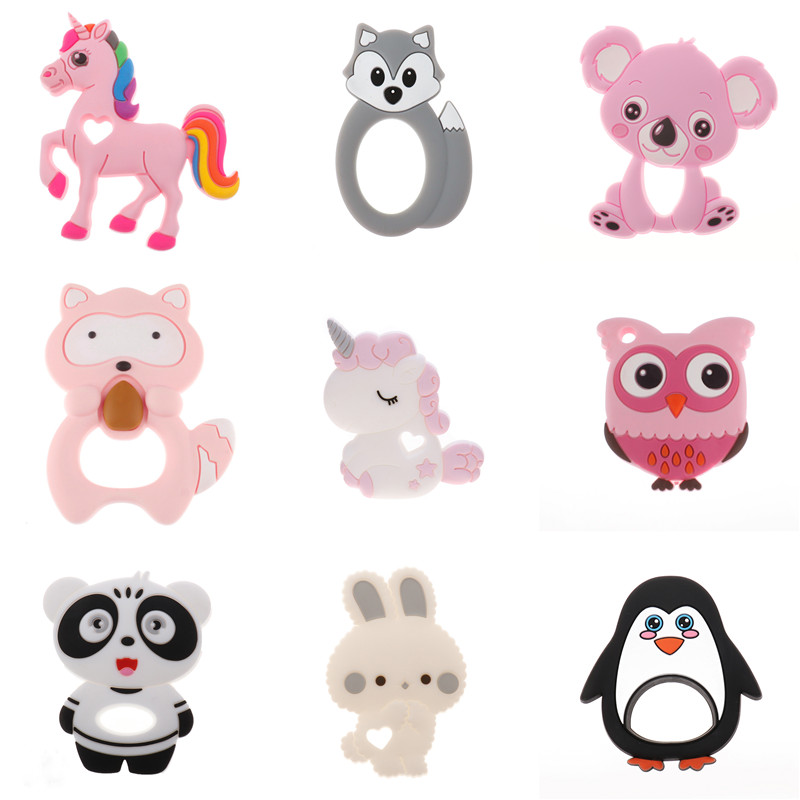 Single Unicorn Silicone Teether Animal Toys Bpa Free Baby Teething Pendant Necklace Accessories Koala Fox Penguin Bunny Rodent