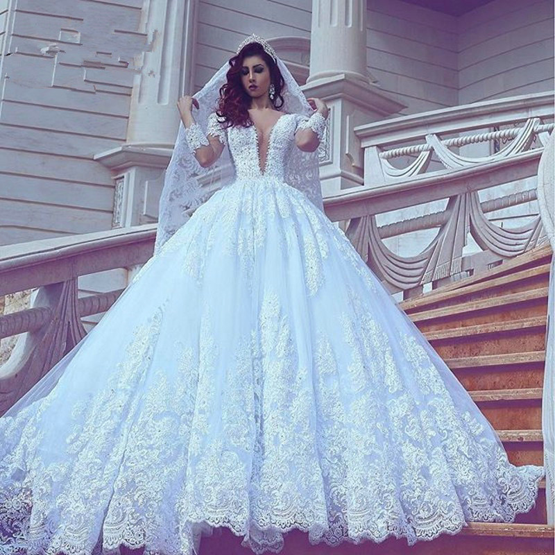 Amazing Ball Gown Vestido De Noiva Arabic Dubai Luxury Lace