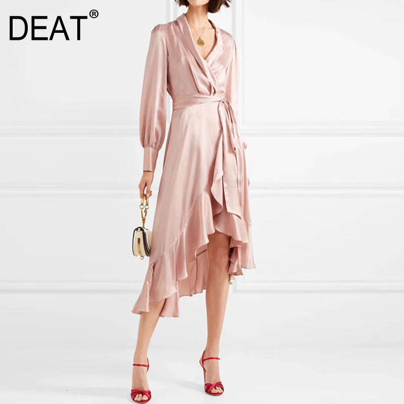 DEAT 2020 Autumn New V-neck Puff Sleeves In The Long Section Of Irregular Lanterns Sleeves <font><b>Pink</b></font> <font><b>Dress</b></font> Women's Clothing PB932 image