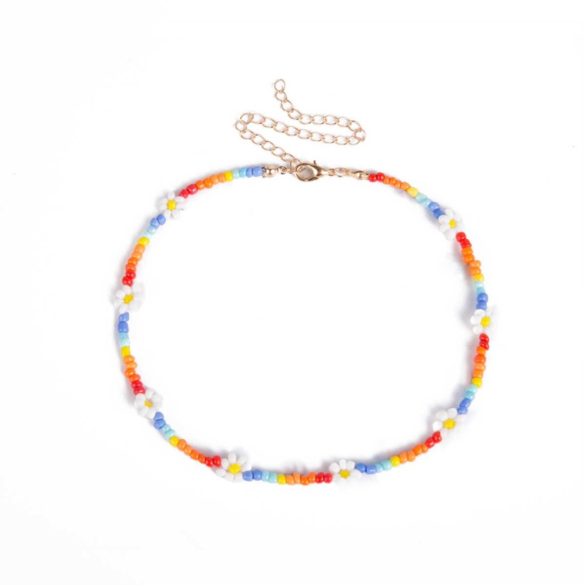 IngeSight.Z-collier ras du cou de graine colorée bohème, fleur, fleur, collier court, chaîne clavicule, pour femmes, bijoux