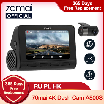 Pre-sale 70mai Dash Cam 4K A800S Built-in GPS ADAS 70mai Real 4K Car DVR UHD Cinema-quality Image 24H Parking SONY IMX415 140FOV