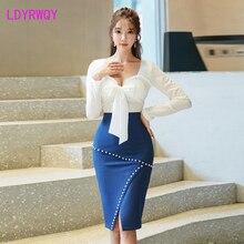 2019 temperament sexy tube top + split side slit rivet skirt Slim bag hip set 2 pieces Knee-Length  V-Neck  Pullover