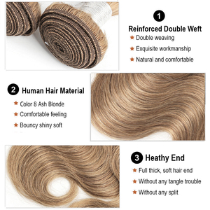 Image 3 - Mogul Haar Kleur 8 Ash Blonde Kleur 27 Honing Blonde Indian Lichaam Wave Haar Weave Bundels 2/3/4 Bundels remy Human Hair Extension