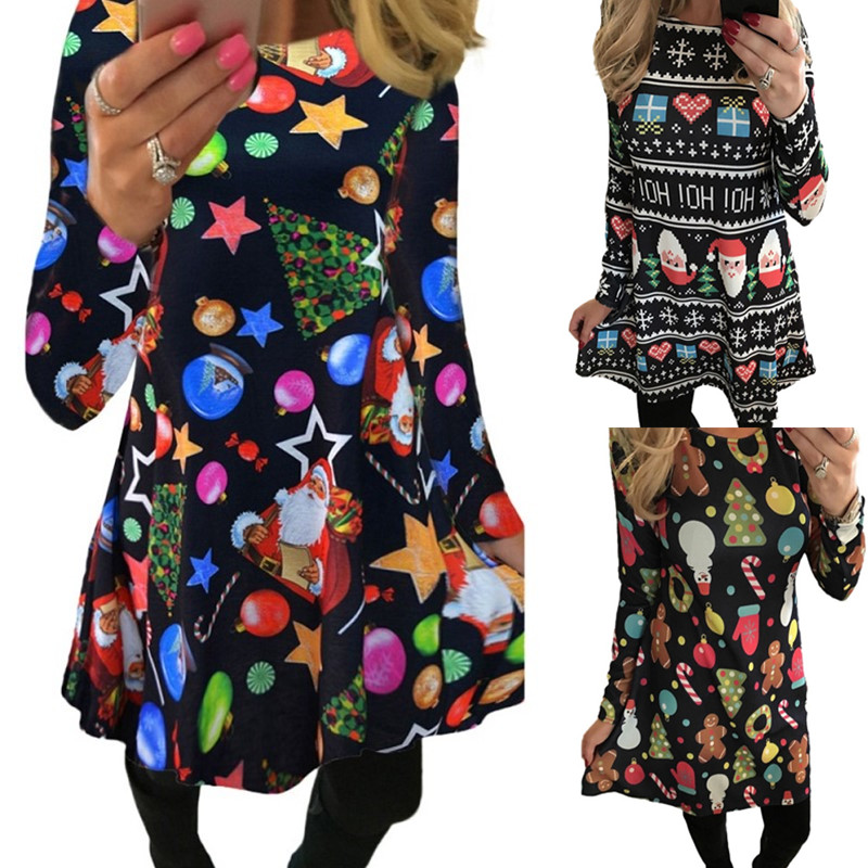 S-5XL Big Size 2019 New Women Year Christmas Dress Deer Printed  Ladies Dresses Winter Party Dresses Ropa Mujer Vestido De Festa