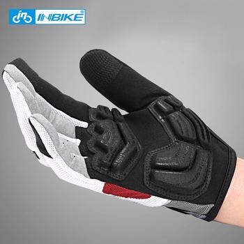 INBIKE pełne rękawiczki rowerowe ekran dotykowy MTB Bike rękawice rowerowe wyścielane żelem Outdoor rękawice sportowe do ćwiczeń akcesoria rowerowe tanie i dobre opinie NYLON Poliester COTTON Z pełnym palcem Jazda na rowerze IF239 Zmywalna