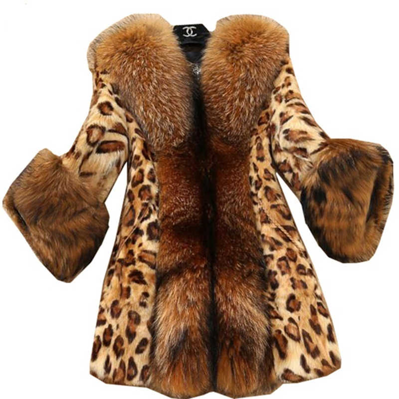 Women Plus size 6XL Imitation Mink hair Leopard Print Fur Coats Medium Long Boutique Imitation raccoon Fur collar Fur Coat F187