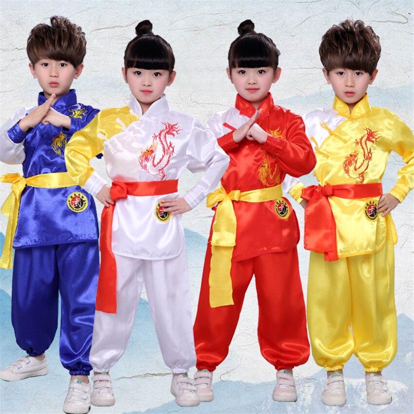 Chinese Style Kung Fu Clothing For Kids Tai Chi Uniform New Year Boys Girls Hanfu China Dragon Wushu Performance Costumes