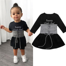 2020 Baby Girl Clothes Suits Fashion Letter Dress Kids Girls Outfits Spring Fall Long Sleeve Mini Dress+Vest Girls Set(China)