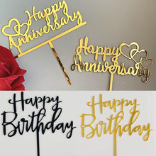 Gold Black Cake Topper Wedding Anniversary Happy Birthday CakeTop Flags For Birthday Party Cupcake Toppers Baking Decor Supplies