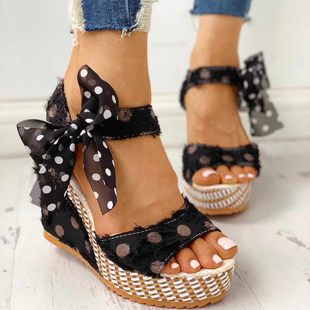 2020 frauen der Damen Plattform Keile Ferse Sandalen Mode Dot Spitze-up Schuhe Schuhe Polka Dot Keil Spitze-up Fisch Sandalen Verano