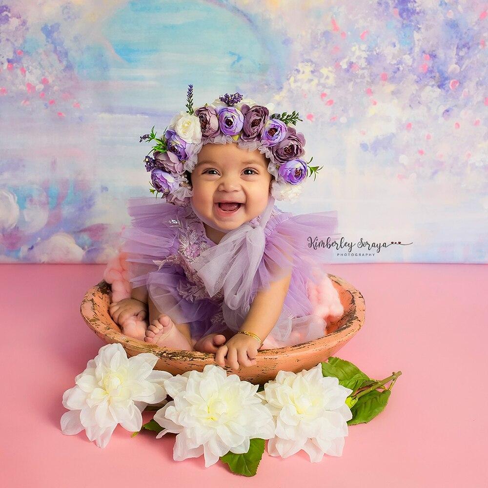 Don&Judy Newborn Photography Props Baby Girls Floral Hat Simulation Flower Bonnet Fotografia Studio Shoot Photo Props