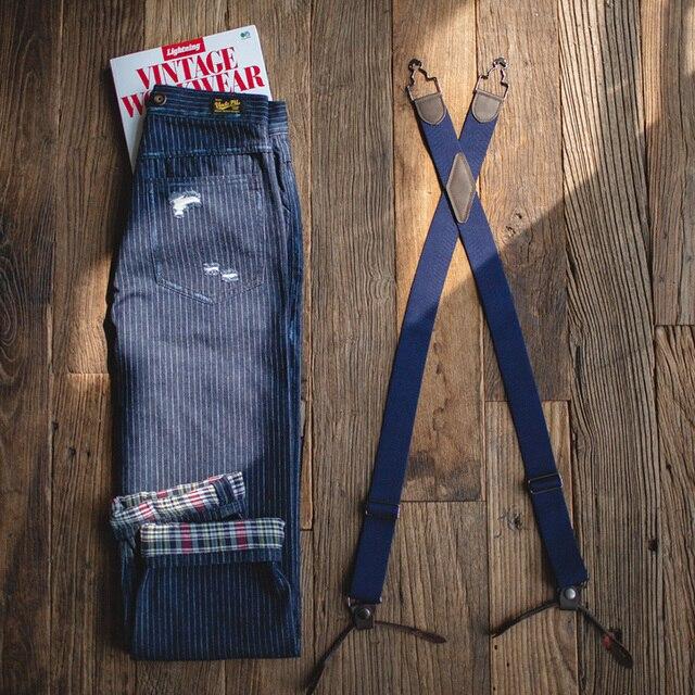 Maden Men's Retro Casual Blue Striped Pants Scottish plaid hem Regular Straight Fit Denim Work Pants With Detachable Suspenders 3
