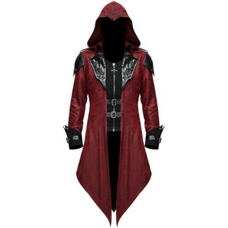 Men Long Sleeve Steampunk Jacket Gothic Swallow-Tail Coat Cosplay Costume Vintage Halloween Hoody Costumes Long Uniform Size 5XL
