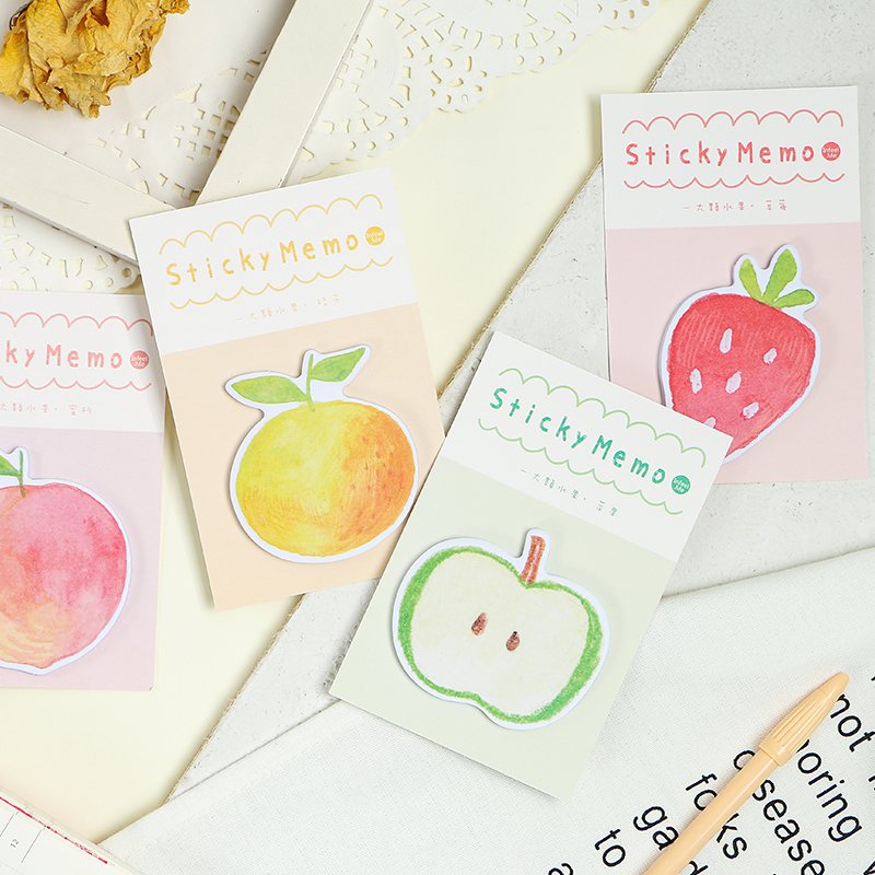 4pcs Fruit Sticky Memo Pads Apple Strawberry Post Note Planner Stickers Marker Tag Stationery Office School Supplies H6636