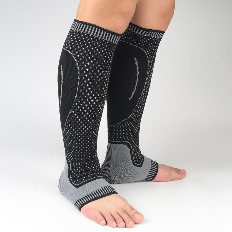 MENS BLACK COMPRESSION SOCKS CALF GUARD TIGHTS STIRRUPS SLEEVES SHINS BIKE GYM