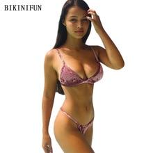 New Sexy Diamond Velvet Bikini Swimsuit Women Solid Color Swimwear S-XL Backless Bathing Suit Girl Padded Bikini Set Beachwear все цены
