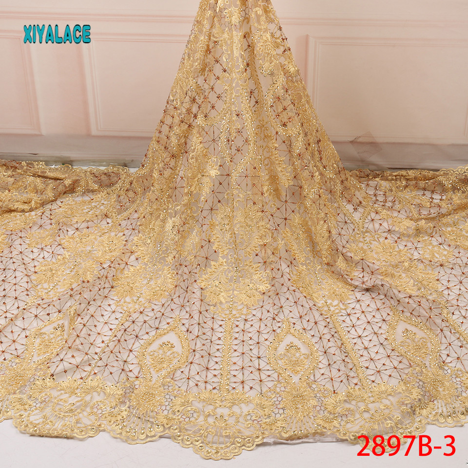Hot Sale Handmade Lace Fabric High Quality 2019 African Net Laces Fabrics Nigerian Tulle With Beads For Wedding YA2897B-3