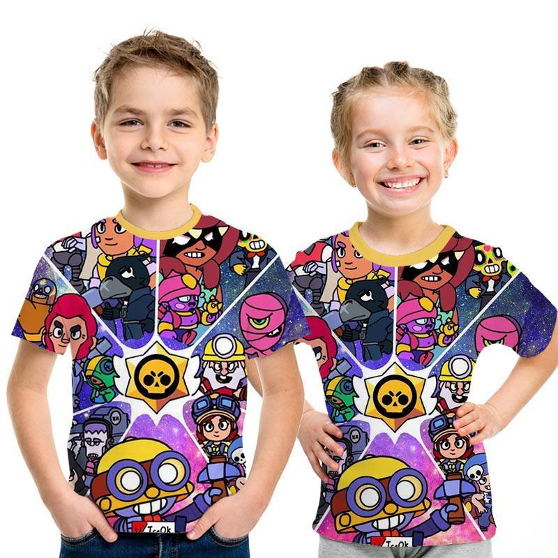 2019 New Children's Summer Anime Cartoon T-shirt, Shooting Game Shirt, 3D Printed High Quality Short-sleeved Top For Boys' Tops