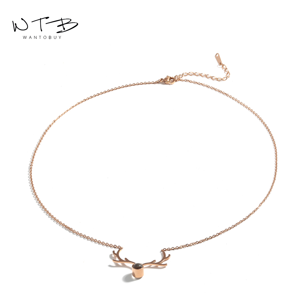 Wantobuy Trendy 316L Steel Stainless Necklace Rose Gold Christmas Deer Pendant Original 100 Languages for Women Party Jewelry