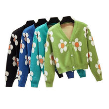 Women's korean style floral printing v neck knitted cardigans