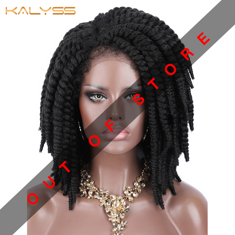 Kalyss Short Braided Wigs For Black Women Cornrow Braids Lace Wigs Synthetic Lace Front Wig Baby Hair Faux Locs Wig Side Part