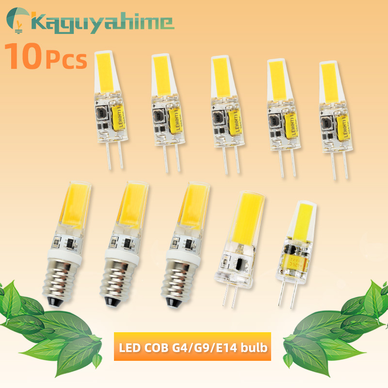 Kaguyahime 10Pcs <font><b>LED</b></font> G4 G9 Bulb E14 COB Dimmable Lamp <font><b>3w</b></font> 5w AC/DC <font><b>12V</b></font> 220V Lamp G4 G9 Light Replace Halogen Lamp For Chandelier image