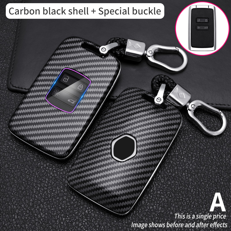 Carbon Fiber Remote Car Key Case For Renault Megane Koleos Kadjar Talisman Espace Captur Clio  Fob Cover  key for 4 buttons