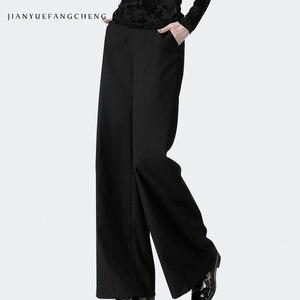Image 1 - Date bureau dames taille haute pleine longueur pantalon droit femmes pantalon poche veste pour homme grande taille 4XL noir doux pantalon plat