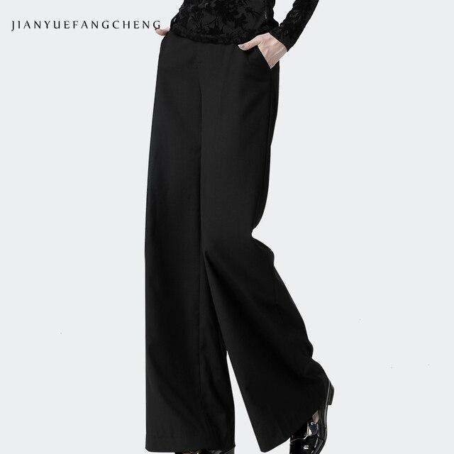 Date bureau dames taille haute pleine longueur pantalon droit femmes pantalon poche veste pour homme grande taille 4XL noir doux pantalon plat
