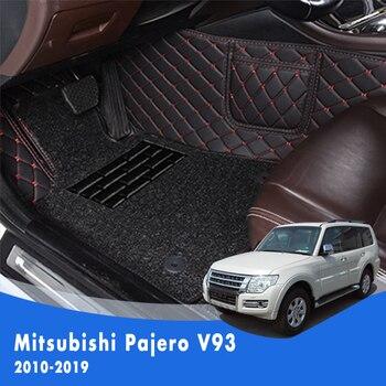 LHD Car Floor Mat For Mitsubishi Pajero V93 2010 2011 2012 2013 2014 2015 2016 2017 2018 2019 2020 Car Wire loop Carpet 3pcs/set lsrtw2017 fiber leather car floor mat for chevrolet malibu 2012 2013 2014 2015 2016 2017 2018 2019 2020 rug carpet accessories