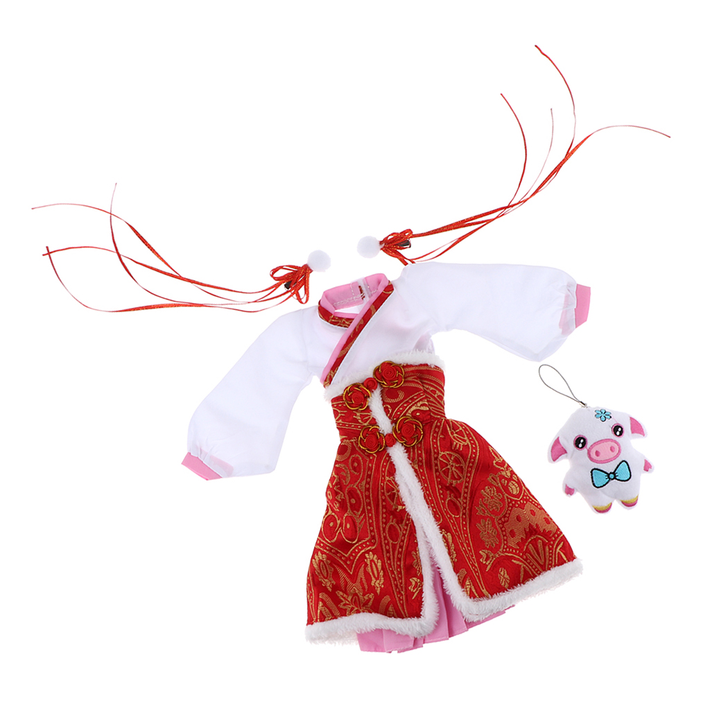 2pcs Chinese Style Dress Skirt Red Plush Apron With Puppet For 1/3 BJD Doll Gift
