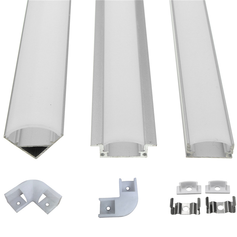 6pcs 100cm U V YW Aluminium Channel Holder Corner Connector For LED Strip Light Bar Under Cabinet Night Lamp Kitchen 1.8cm Wide