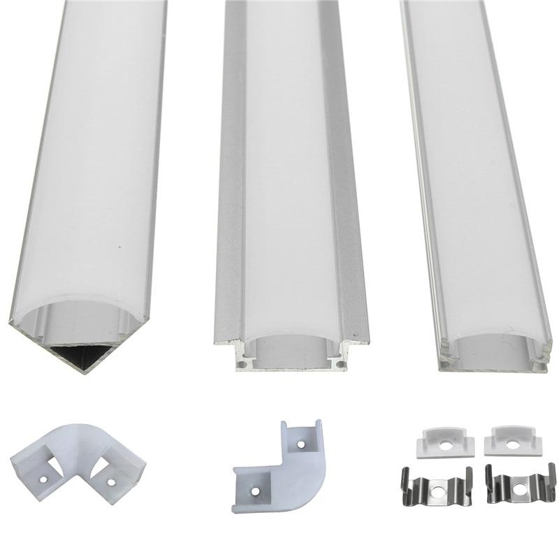 6pcs 100cm U V YW Aluminium Channel Holder Corner Connector For LED Strip Light Bar Under Cabinet Night Lamp Kitchen 1.8cm Wide