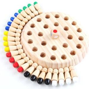 Palo de ajedrez con memoria de madera para niños, juego de mesa de bloques divertidos, Color educativo, juguetes de habilidad cognitiva