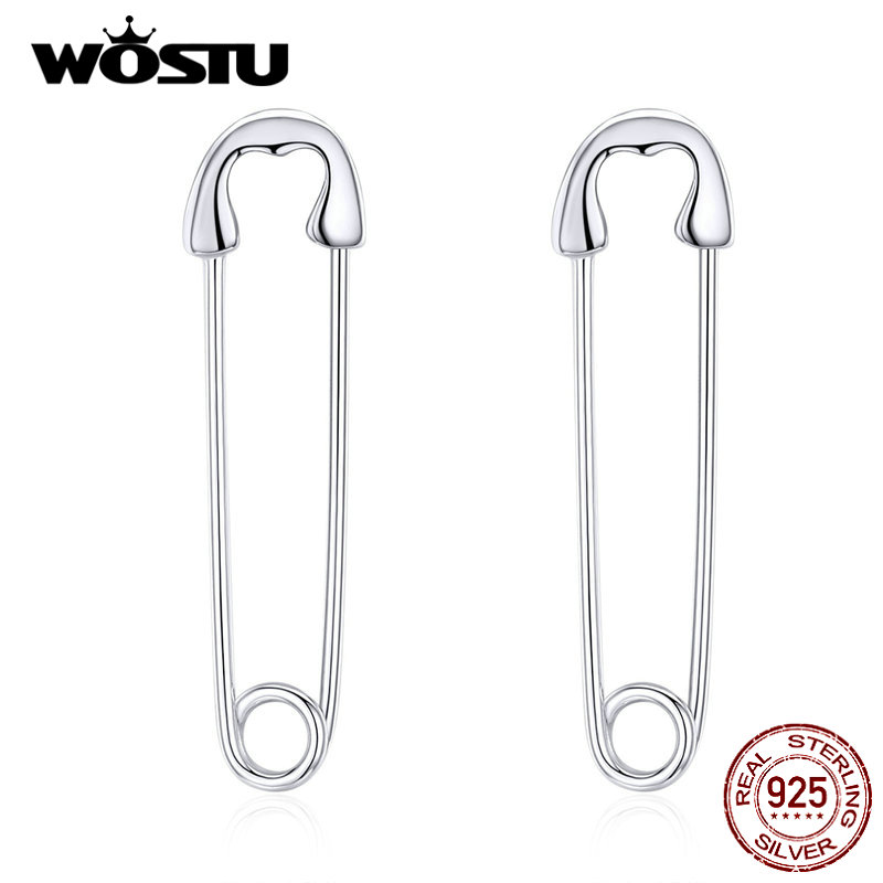 WOSTU Real 925 Sterling Silver Pin Cartilage Fashion Earrings Minimalist Style Punk Earrings For Women Party Jewelry CQE695-A