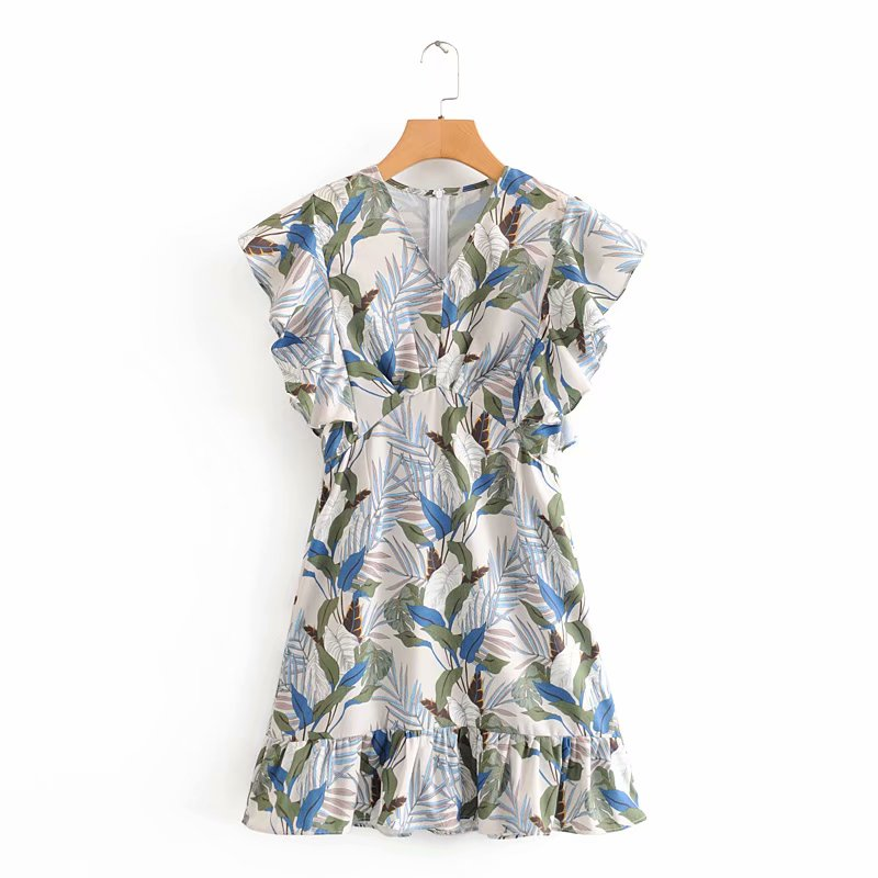 2020 New women summer v neck print casual slim mini dress femme butterfly sleeve vestido chic ruffles back zipper dresses DS3599