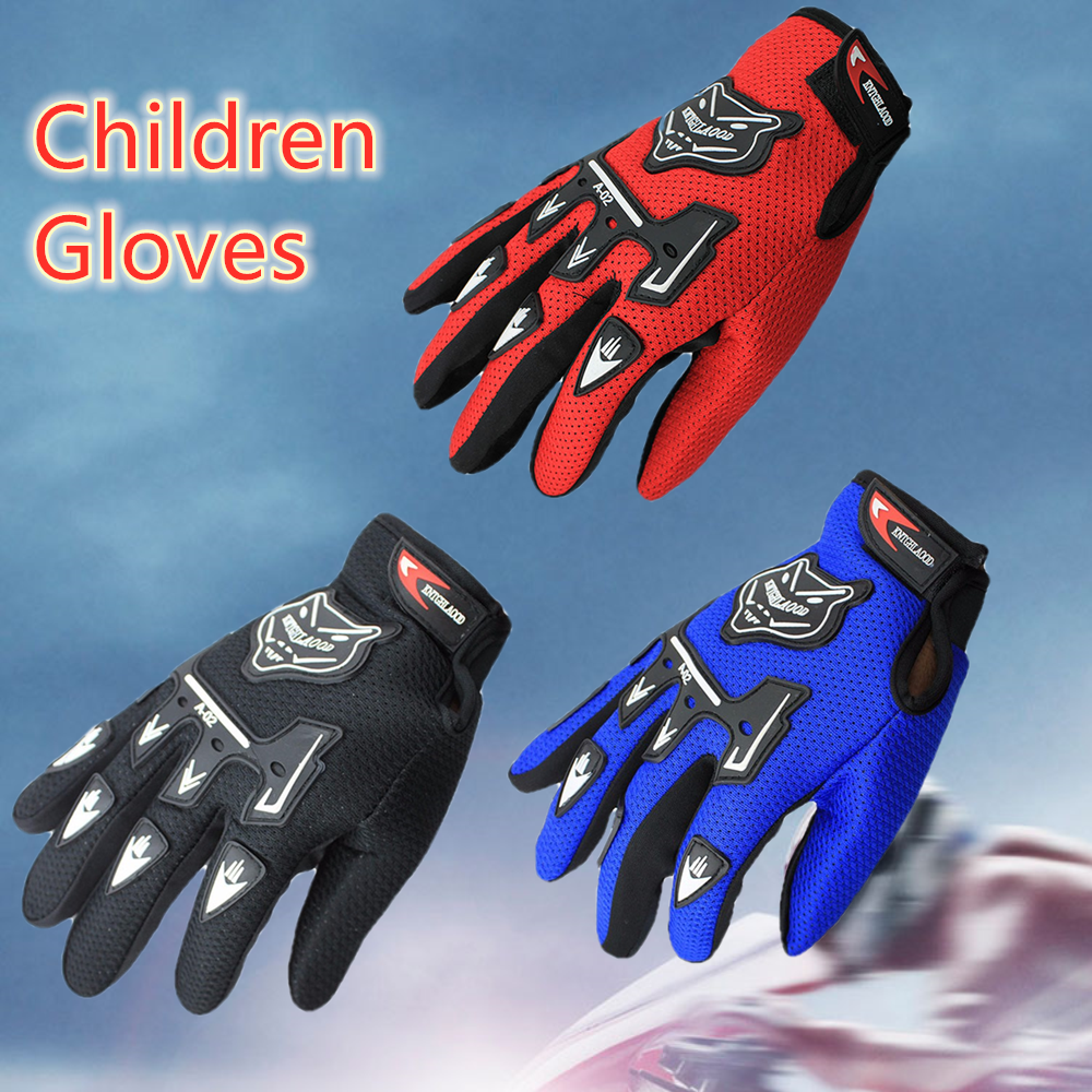 Child Summer Winter Full Finger Motorcycle Gloves Kids Moto Motocross Luvas Leather Motorbike Guantes Children Racing Glove