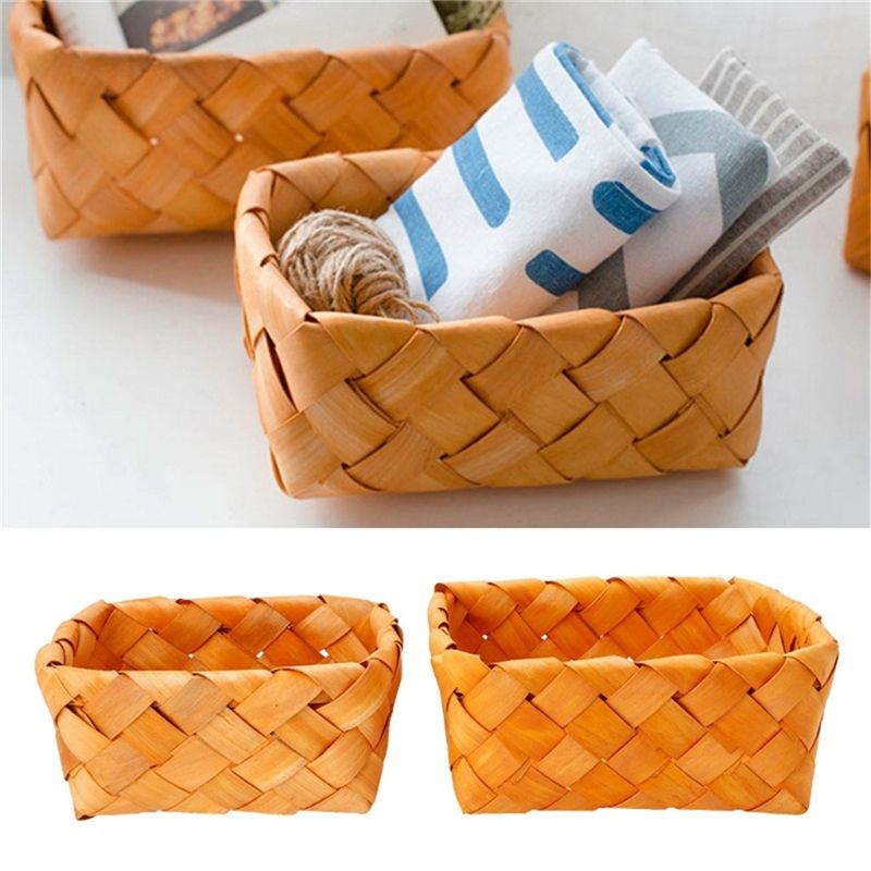 Creative Hand Knit Rectangular Fruit Basket Bread Wood Picnic Storage