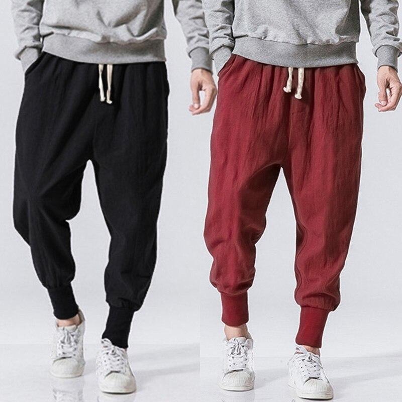 INCERUN Men Harem Pants Drawstring Cotton Joggers Solid 2020 Streetwear Drop-Crotch Trousers Men Baggy Casual Sweatpants S-5XL