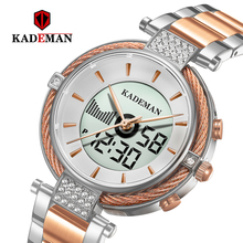 Kademan חדש K9080 אלגנטי קוורץ ודיגיטלי נשים שעון LCD מסך Relogio Feminno יוקרה עסקי סגנון אופנה עמיד למים