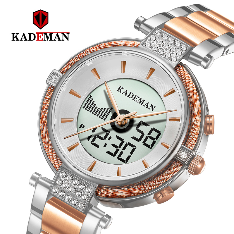 Kademan New K9080 Elegant Quartz And Digital Women Watch LCD Screen Relogio Feminno  Luxury Business Style Fashion Waterproof