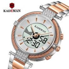 Kademan nowy K9080 elegancki zegarek kwarcowy i cyfrowy zegarek LCD Relogio feminino luksusowy styl biznesowy moda wodoodporna