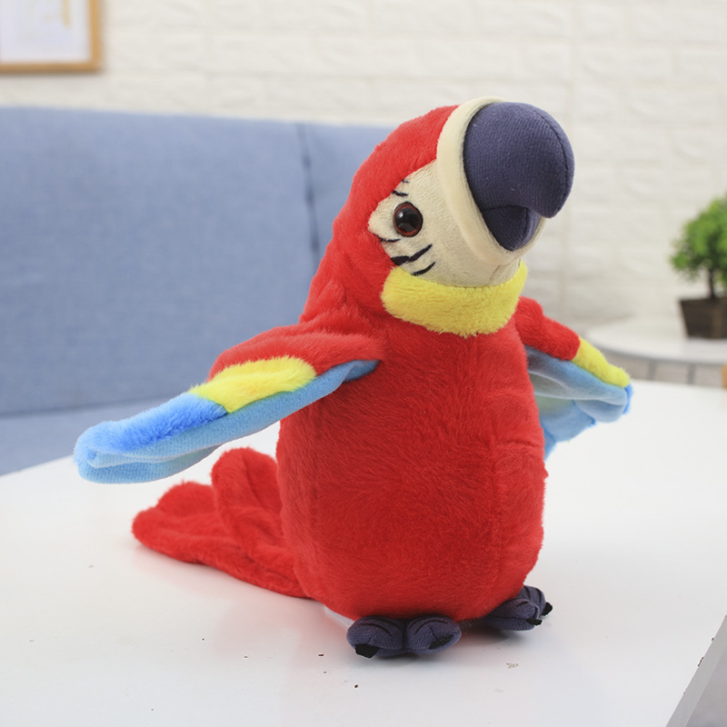 Kids Toys Talking Parrot Plush Toys Cute Electronic Pet Parrots Speaking Repeats Waving Wings Interactive Toys for Baby Gift