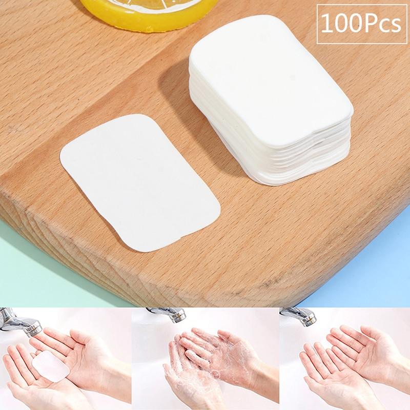 100 × портативные листы для мытья кусочков, дорожная Ароматизированная бумага для мыла и мыла