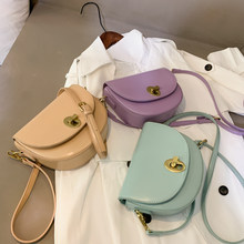 Fashion bags for women 2020 solid PU leather half round women's Shoulder Messenger Bag sac a main crossbody bags for women(China)