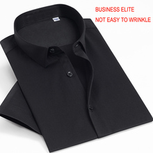 Elite business short sleeved shirt that matches cotton and fiber. Pure color fashion business easy care short sleeved men shirt