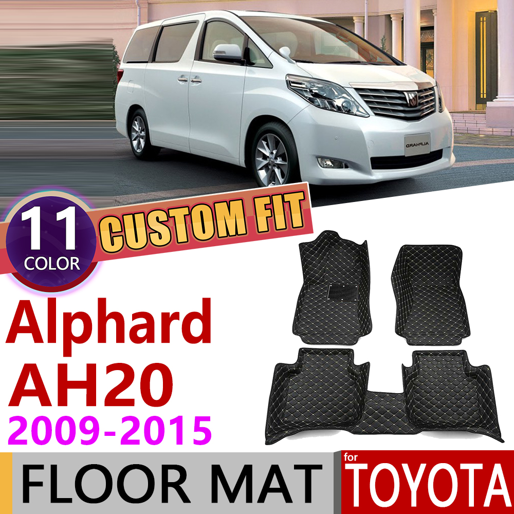Custom Leather Car Floor Mats For Toyota Alphard AH 20 AH20 2009~2015 7 Seats Foot Pad Carpet Accessories 2010 2011 2012 2013