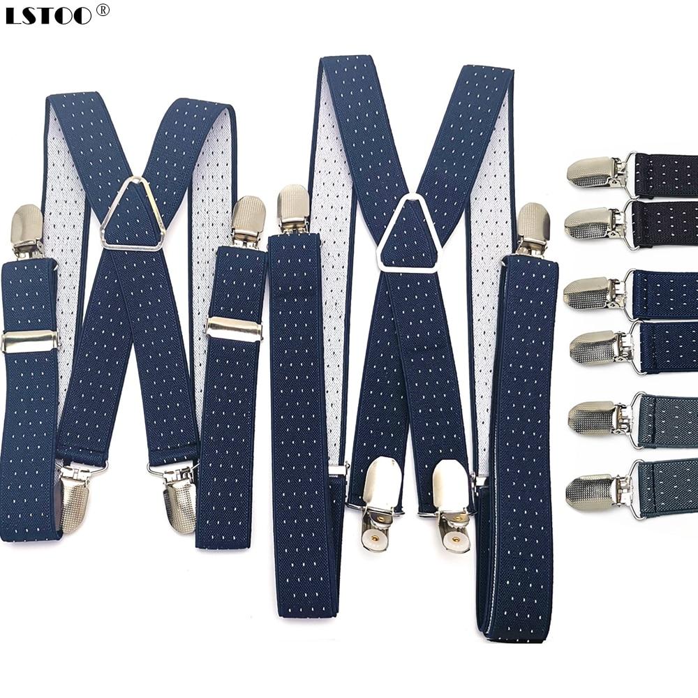 2.5CM Wide X Back Unisex Dot Suspenders Men Women Adjustable Elastic Tirantes Hombre Kids Children Pants Holder Wedding Wear