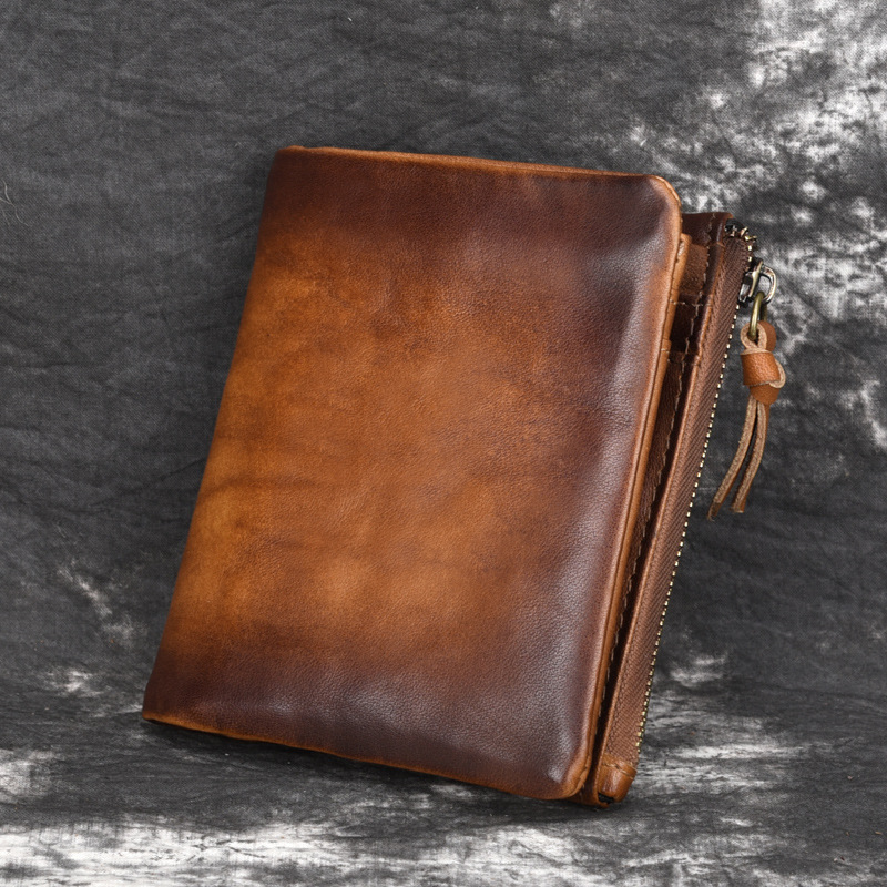 Fashion Leather Men's Wallets 2019 New Retro Cowhide Multifunction Zipper Purses Men Solid Color Coin Purses Short Male Wallet