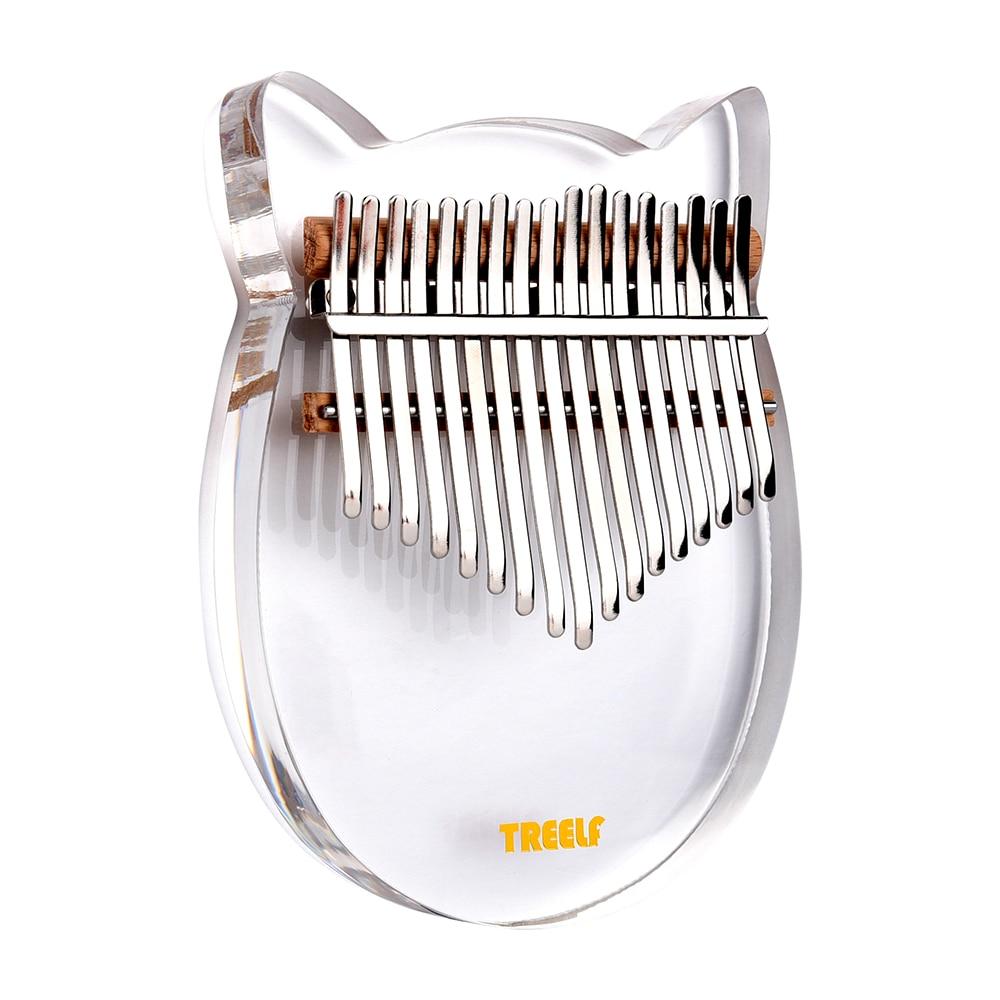 Crystal Series Treelf TF-17C 17 Key Kalimba Acrylic Thumb Piano 17 Keys Mbira Transparent Keyboard Instrument